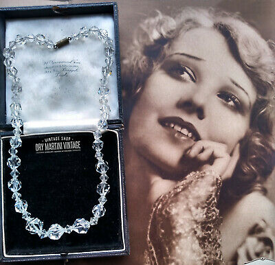 VINTAGE ART DECO 20s 30s BEAUTIFUL CLEAR CRYSTAL NECKLACE BRIDAL JEWELLERY GIFT