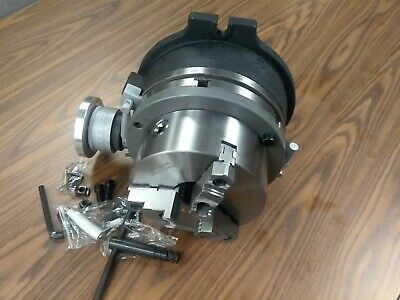 """10"""" HORIZONTAL & VERTICAL ROTARY TABLE w. 8"""" 3 jaw chuck & centering adapter"""