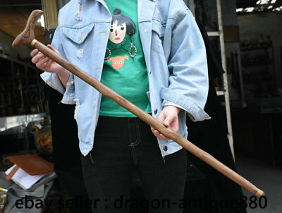"""34.4"""" Collect Rare Old Chinese Wood Hand Carved Handle crutch walking stick"""