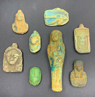 EGYPTIAN Amulet ANTIQUES EGYPT STATUE Group 8 Faience Carved STONE 3200 BC