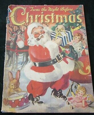 1942 Merrill Twas The Night Before Christmas Softcover Book Florence Salter Illu