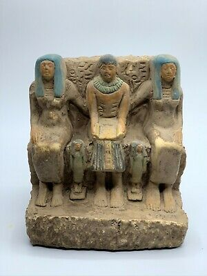 EGYPT EGYPTIAN ANTIQUES Pharaoh Family Statue Carved Handmade STONE 3250 BC