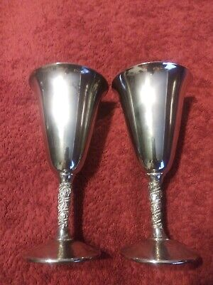 """Fb Rogers Silver Plate Goblets /Wine Glasses Italy. Set Of 2 ( 7"""" Tall ) Vintage"""