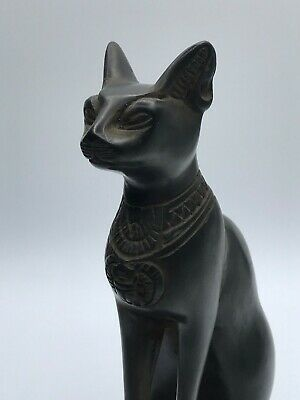 EGYPT EGYPTIAN BASTED ANTIQUES Ubasti CAT GODDESS PHARAOH STATUE Black Stone BCE