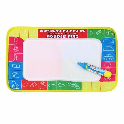 Kids Write Draw Paint Water Canvas Magic Doodle Mat With Pen Brushes 29*19Cm KD