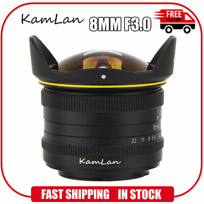 KamLan 8MM F3.0 APS-C Manual Wide Angle Fisheye Lens for Camera For Sony E Mount