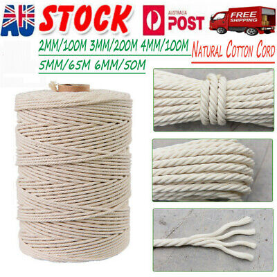 3mm 4mmx100m Natural Cotton Cord Twine Braided Rope Cord Hand Craft Macrame DIY