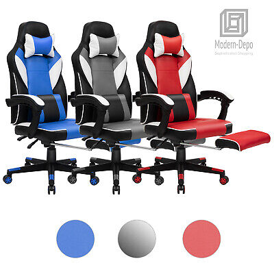 High-Back Ergonomic Swivel Office Chair Gaming Chair with Footrest and Headrest