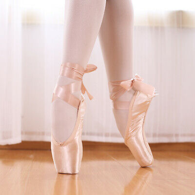 Professional Satin ballet Shoes Dance Toe Shoes Pointe Shoes with Ribbon Ties