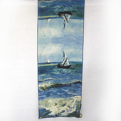 Cocoon House Wearable Art The Sea Sailboats 100% Silk Hand Painted Scarf