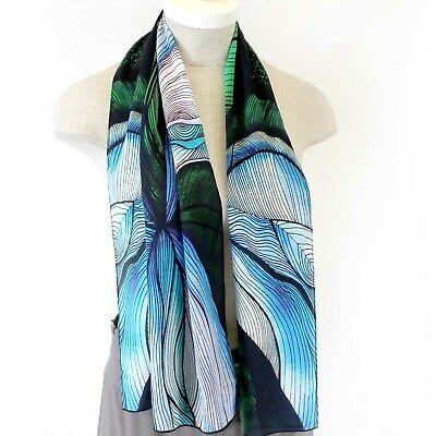 Cocoon House Wearable Art Symbolical Floral Print  100% Silk Scarf