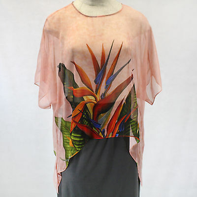 Cocoon House Coral Bird of Paradise Art 100% Silk Pointed Top Large/XL
