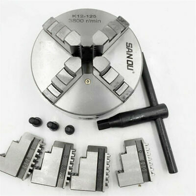 """4 Jaw Lathe Chuck 125mm Self-centering 5"""" 4 jaw Chuck CNC Metalworking Accessory"""