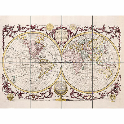 Map Of The World Vintage XL Giant Panel Poster (8 Sections)