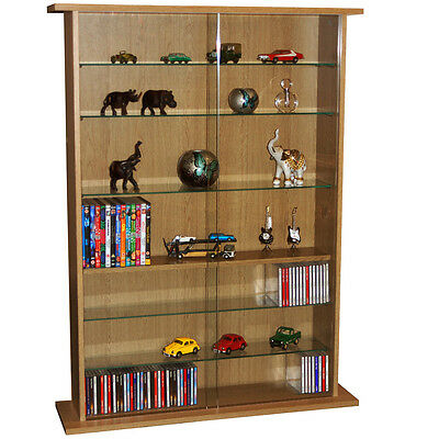 BOSTON Glass Collectable Display Cabinet / CD DVD Storage Shelves Oak MS0640