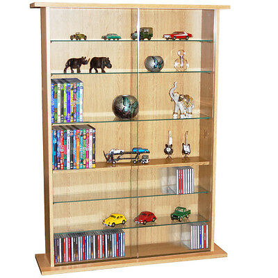 BOSTON  Glass Collectable Display Cabinet  CD DVD Storage Shelves- Beech MS0641