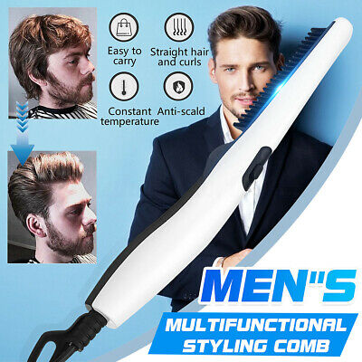 Quick Electric Mens Hair Beard Straightener Comb Styling Heated Women Styler