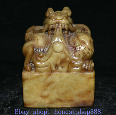 """4"""" Old China Hetian Jade Carving Dynasty Palace Dragon Beast Seal Stamp"""