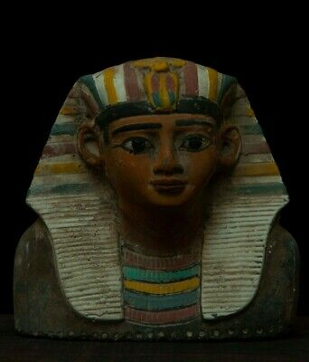 ANCIENT EGYPT EGYPTIAN ANTIQUES Statue PHARAOH King Tut Mask Stone 1279 BC