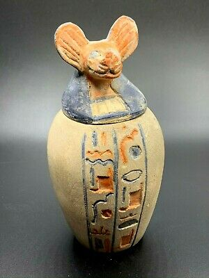 EGYPT EGYPTIAN ANUBIS ANTIQUES God Canopic Jars Dog STATUE Carved STONE BC