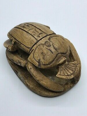 EGYPTIAN ANTIQUES EGYPT SCARAB Beetle Sculpture HIEROGLYPHS STONE BC