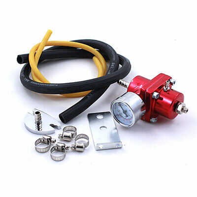 Fuel Pressure Regulator with Gas Hose Kit 0-140 PSI Red Universal