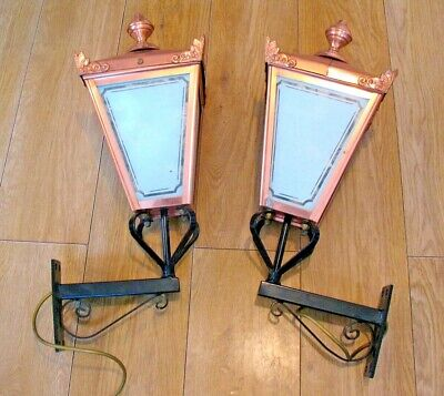 Pair of Large Antique style Copper & Wrought Iron wall mounted Lantern Lights
