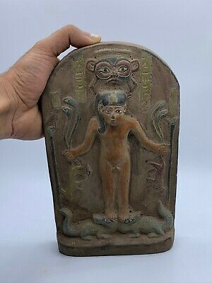 VINTAGE EGYPTIAN ANTIQUES EGYPT STELA Relief Magical Gods Carved STONE 1453 BC