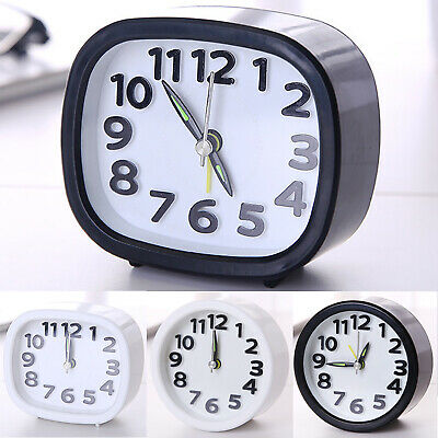 Small Square/Round Travel Alarm Clock Quartz Large Number Bedside Snooze Table