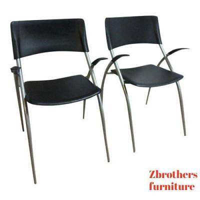 Pair Calligaris Leather Atomic Floating Arm Chairs  B