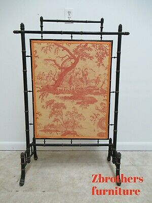 Antique Faux Bamboo Fire screen Tools Victorian Toile Ebonized