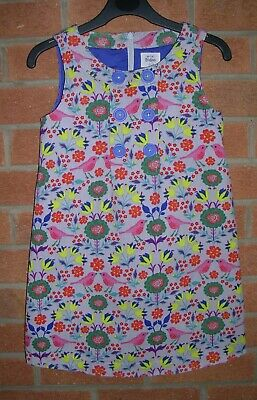 MINI BODEN Girls Grey Cord Fully Lined Pinafore Dress Age 5-6 116cm Birds Daisys