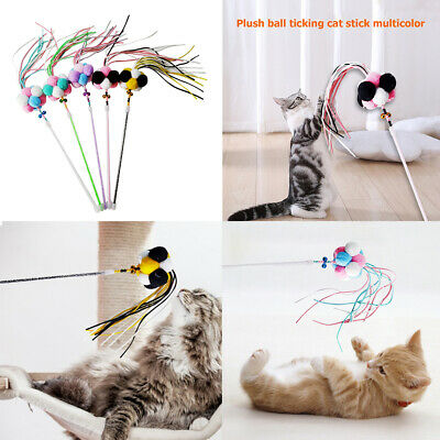 Kitten Cat Wand Teasing Pole with Tassel Plush Doll Interactive Pet Funny Toys