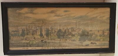 1840 antique HAND COLORED ENGRAVING ART of LEBANON PA w WOOD FRAME old GLASS