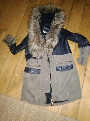 FAB LADIES / GIRLS RIVER ISLAND PARKA / COAT FUR LINED detactable fur size 8 FAB