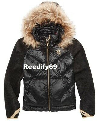 Michael Kors Big Girls Jacket With Removable Faux-Fur-Trimmed Hood Size 7-8