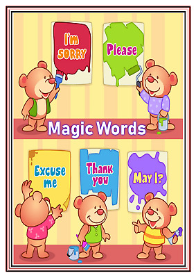 A4 Poster Sign Educational Nursery Children Kids Childminders Magic Words