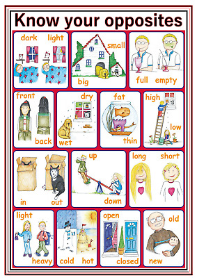 A4 Poster Sign Educational Nursery Children Kids Childminders Opposites