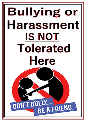 A4 Poster Sign Educational Nursery Children Kids Childminders No Bullying
