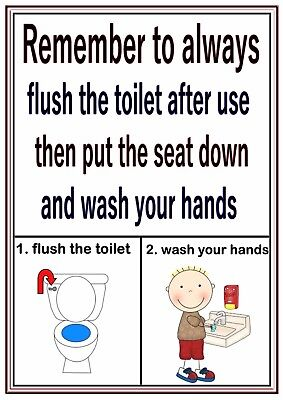 Poster Sign Educational Children Nursery Childminders Flush Toilet Wash Hands