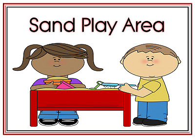 A4 Poster Sign Educational Nursery Children Kids Childminders Sand Play