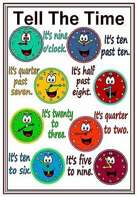A4 Poster Sign Tell The Time Educational EYFS SEN Children Kids Childminders