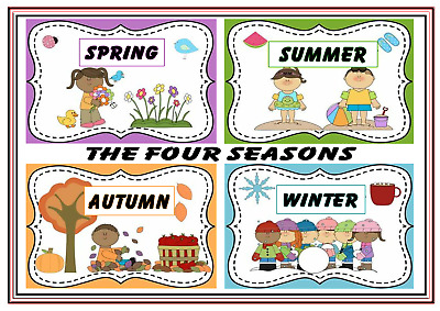 A4 Poster Sign Educational Nursery Children Kids Childminders Seasons