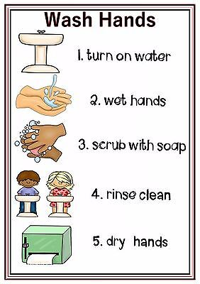 A4 Poster Sign Wash Hands Educational Nursery SEN Children Childminders