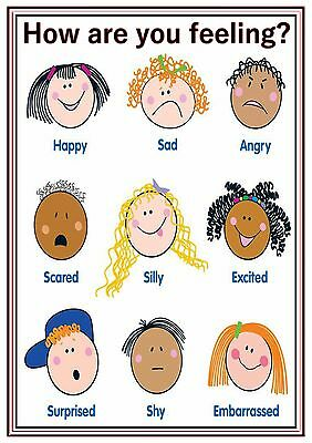 A4 Poster Sign Feelings Educational EYFS SEN Children Kids Childminders