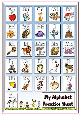 A4 Poster Sign Alphabet Practice Sheet Educational EYFS Children Childminders