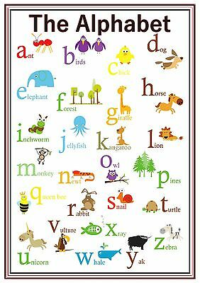 A4 Poster Sign Alphabet Lower Case Educational EYFS SEN Children Childminders