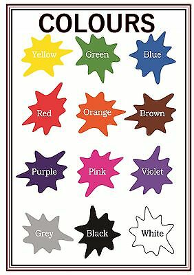 A4 Poster Sign Colours Splashes Educational EYFS SEN Children Kids Childminders