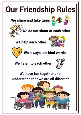 A4 Poster Sign Friendship Rules Educational SEN Children Nursery Childminders