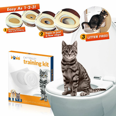 Cat Toilet Training Seat Litter Tray Kit Potty Train System Pet Kitty